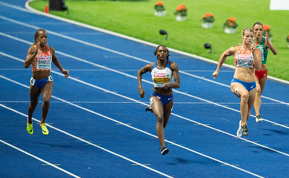Asher-Smith leads the likes of Schippers and Samuel down the home straight on her way to taking the gold medal (Getty Images)