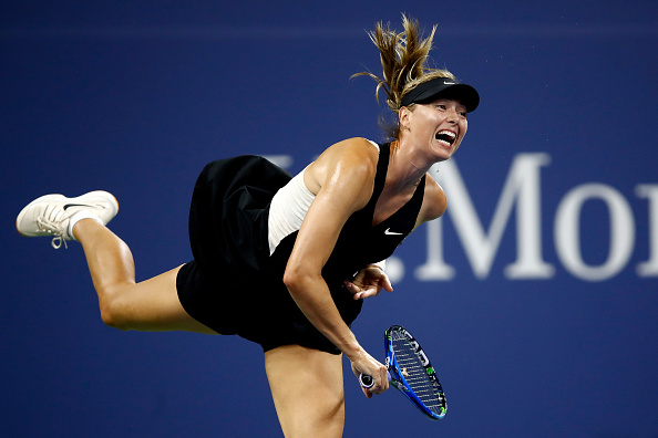 Maria Sharapova in action during her first round match at the US Open. Photo: Getty Images/ Julian Finney)