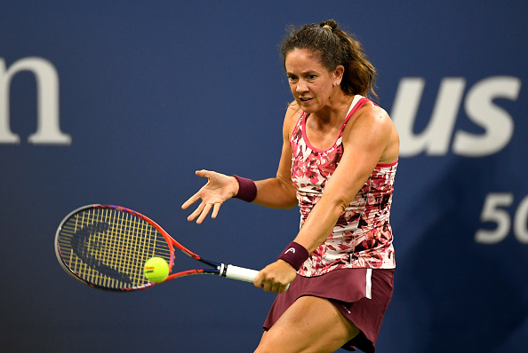 Patty Schnyder in action during her first round match at the US Open. Photo: Getty Images/ Sarah Stier