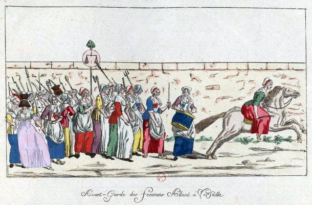 Vanguardia de la Marcha de las Mujeres a Versalles. Biblioteca Nacional de Francia (PD).