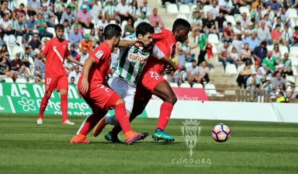 Guille Donoso pelea con dos rivales por un balón | Foto: Córdoba CF