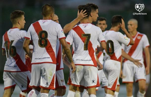 Jugadores del Rayo Vallecano celebrando el gol | Fotografía: Rayo Vallecano S.A.D.