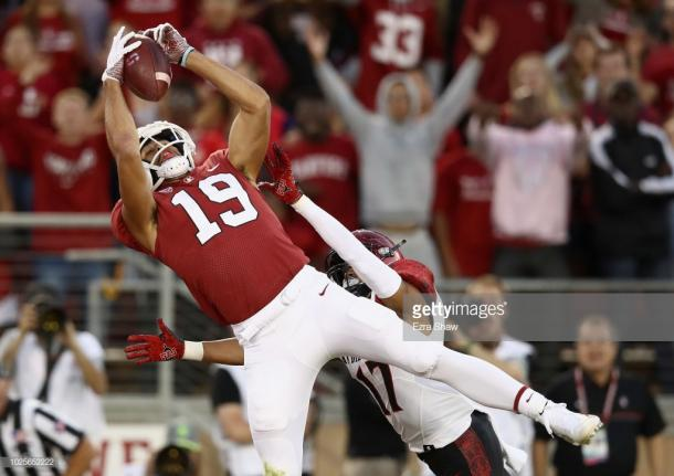 JJ Arcega-Whiteside was dominant in Stanford's week one win (image source: Ezra Shaw/Getty Images)