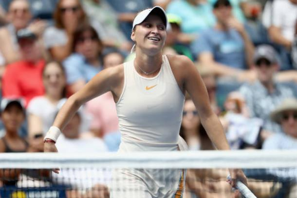 Marketa Vondrousova celebrates one of the best victories of her career (Getty Images/Al Bello)
