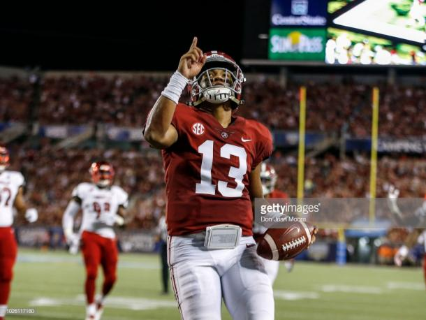 Tagovailoa led the Tide to a big week one win over Louisville (image source: Don Juan Moore/Getty Images)
