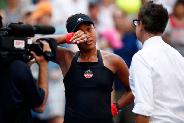 Osaka is interviewed on court following her victory (Getty Images/Julian Finney)