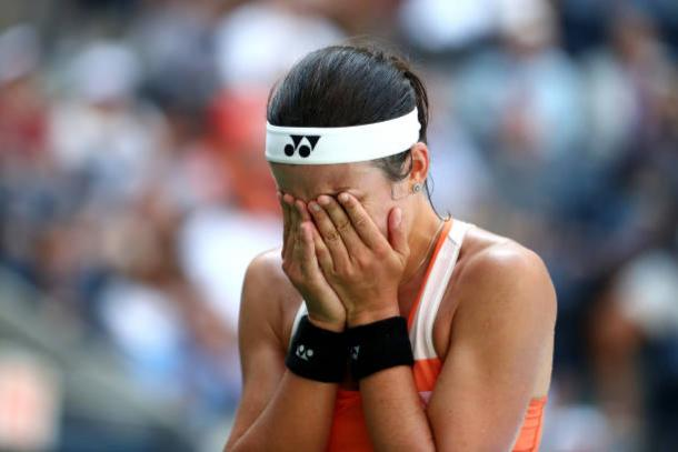 Sevastova was overcome with emotion after reaching her first Grand Slam semifinal (Getty Images/Al Bello)