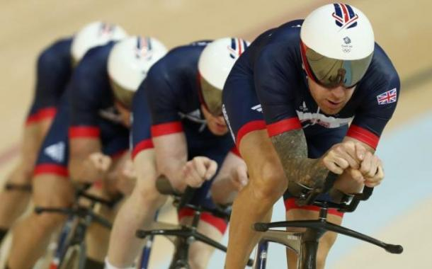The Team Pursuit men on their way to the fastest qualifying round. | Photo: Telegraph