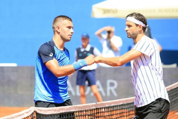 Coric (l.) and Dimitrov (r.) after their Adria Tour match: Photo/Mario Ćužić/HTS