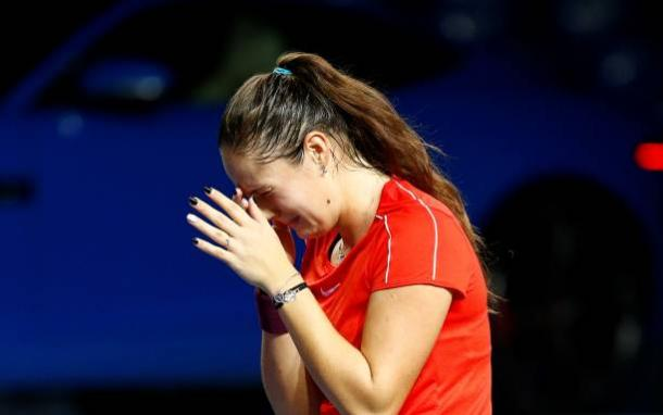 Daria Kasatkina was in tears after grabbing the huge win in front of her home fans | Photo: Getty Images / Anadolu Agency