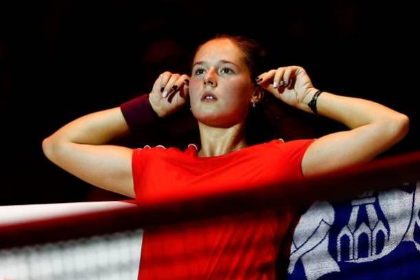 An on-court coaching session made the difference for Daria Kasatkina today | Photo: Getty Images / Anadolu Agency