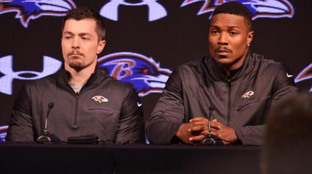 Danny Woodhead (left) and Tony Jefferson (right) at their introductory press conference |via Baltimore Ravens|