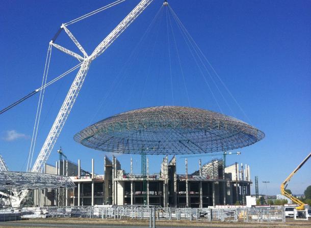 Obras de ampliación del Buesa Arena en los años 2011 y 2012. | Foto: Baskonia