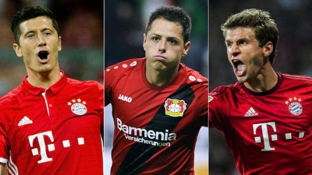 Lewandowski, Chicharito y Müller, referencias ofensivas en sus equipos | Foto: Bundesliga.com