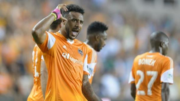 Giles Barnes (Center) will need to lead the Dynamo's attack on Sunday and for the rest of the season. Photo provided by Wilf Thorne-Houston Dynamo.