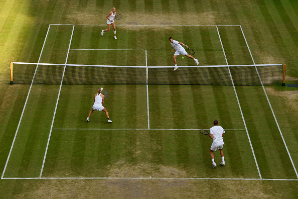 Ken Skupski, Jocelyn Rae, Max Mirnyi and Ekaterina Makarova all in shot (Photo: Shaun Botterill/Getty Images)