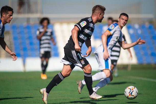 Cayarga durante el partido. FC Cartagena