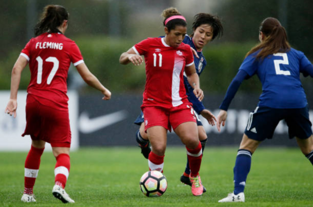 Canada midfielder Desiree Scott (11) controls the ball in a 2-0 victory over Japan at the 2018 Algarve Cup. | Photo: Eric Verhoeven - Soccrates/Getty Images