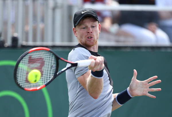 Kyle Edmund hits a forehand during his second round loss in Miami. Photo: Clive Brunskill/Getty Images