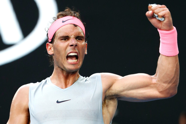 Rafael Nadal celebrates a point during his last match win back at the Australian Open. He returns to number one following Miami. Photo: Michael Dodge/Getty Images