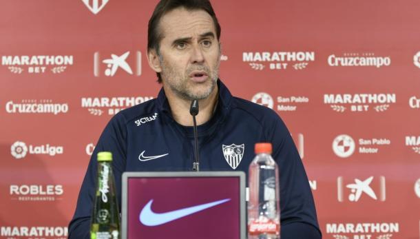 Julen Lopetegui en rueda de prensa   Foto: Sevilla FC