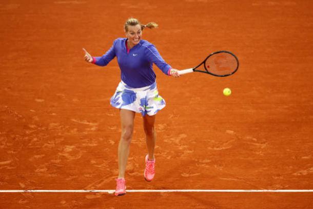 Kvitova with the forehand winner Julian Finney