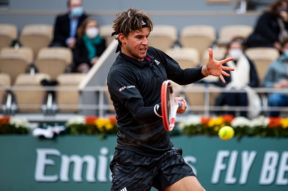 Dominic Thiem returning a forehand Photo Credit TPN