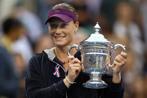 Samantha Stosur after winning her first US Open title in 2011 (Getty/Clive Brunskill)