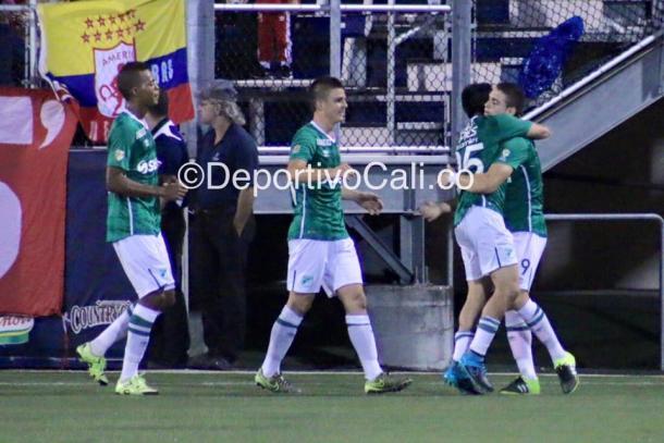 Celebración del gol de Borré Foto: DeportivoCali.co