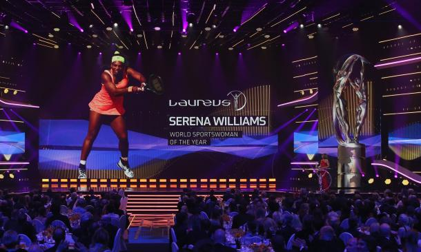 Laureus World Sports Academy member Nadia Comaneci announces Serena Williams the winner of the Laureus World Sportswoman of the Year Award (Photo: Ian Walton/Getty Images)