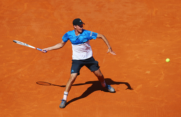 Dominic Thiem plays a forehand to Rafael Nadal during their round three match (Photo: M<ichael Steele/Getty Images)
