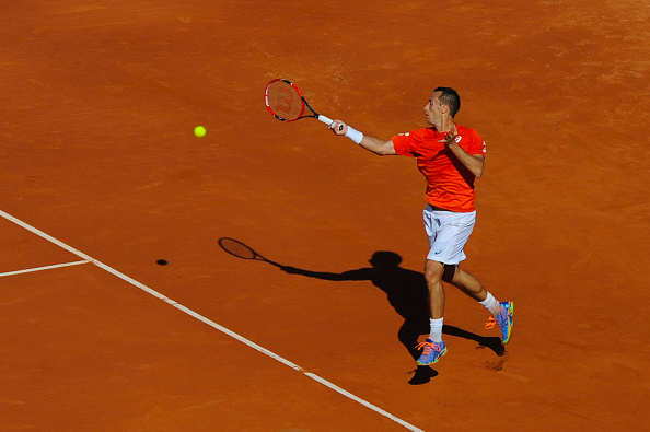 Philipp Kohlschreiber plays a forehand against Rafael Nadal during the Barcelona Open Banc Sabadell (Photo: David Ramos/Getty Images)
