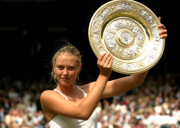 Maria Sharapova holding the famous Venus Rosewater Dish in 2004 (Photo: Bongarts/Getty Images)