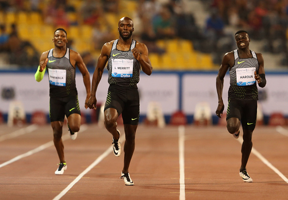 LaShawn Merritt (C) races to victory ahead of Isaac Makwala (L) and Abdalleh Haroun (R) in the Men's 400 metres final (Photo: Warren Little/Getty Images)