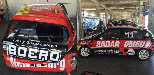 Auto de Boero luego del accidente. Fotos: Prensa Med