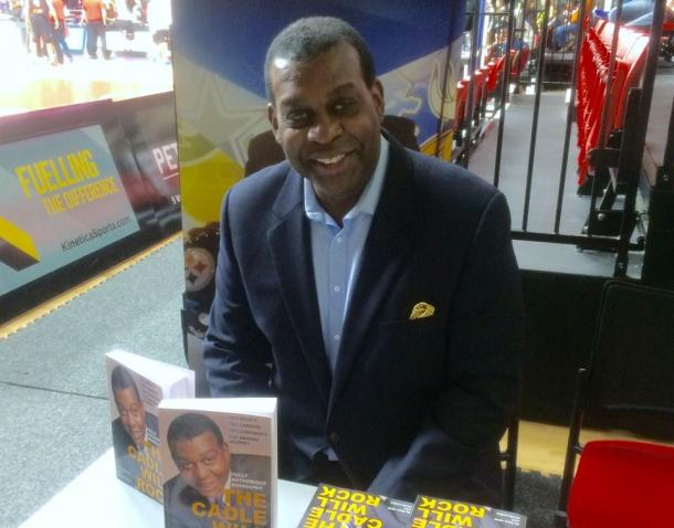 Kevin promoting his new book. Photo Source: Kevin Cadle