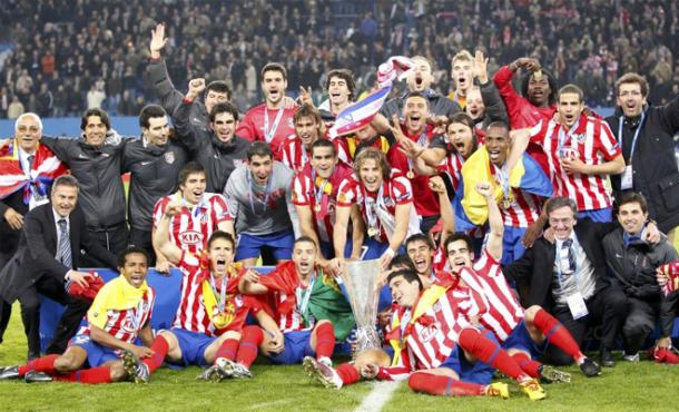 Celebración del Atlético de Madrid tras ganar la Europa League en 2010 | Getty