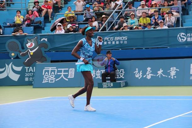 Venus Williams celebrating after winning the 2016 Taiwan Open. | Photo: Taiwan Open