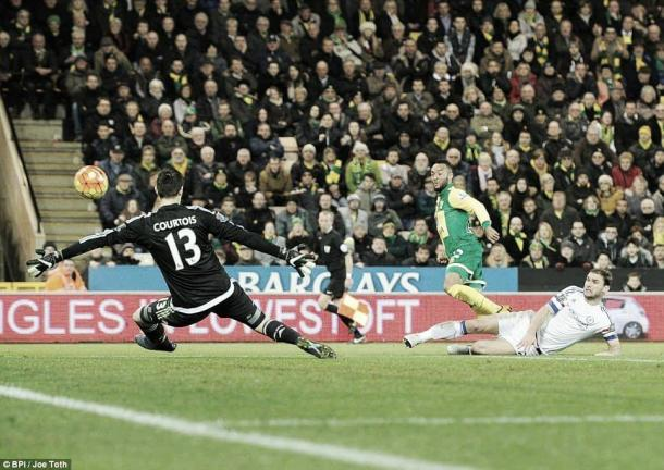 Above: Nathan Redmond fires home in Chelsea's 2-1 victory over Norwich  image source: Joe Toth