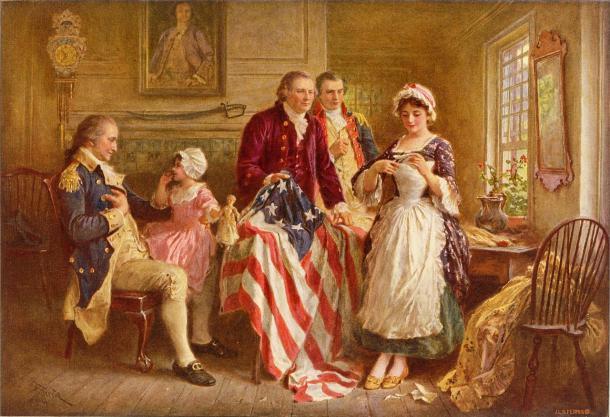 Betsy Ross en 1777 (circa1890), de Jean Leon Gerome Ferris (Wikipedia, PD)