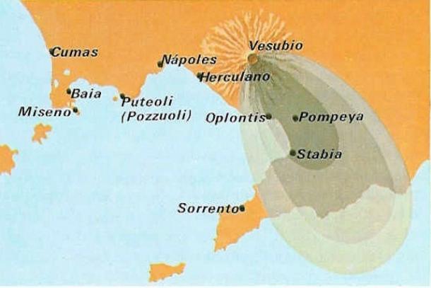 Mapa con las ubicaciones de Pompeya, Herculano, Stabia y los efectos devastadores del Vesubio (PD).