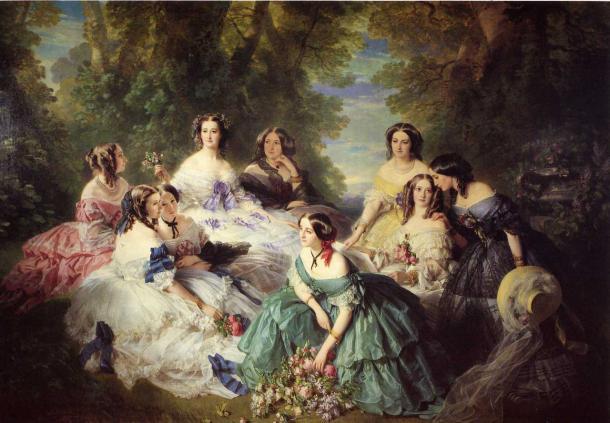 La Emperatriz Eugina y otras damas (1855), de Franz Xavier Winterhalter (Wikipedia, DP)