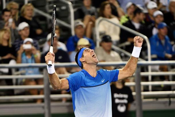 An elated del Potro after getting his first win at his return | Photo courtesy of: Peter Staples/Delray Beach Open facebook