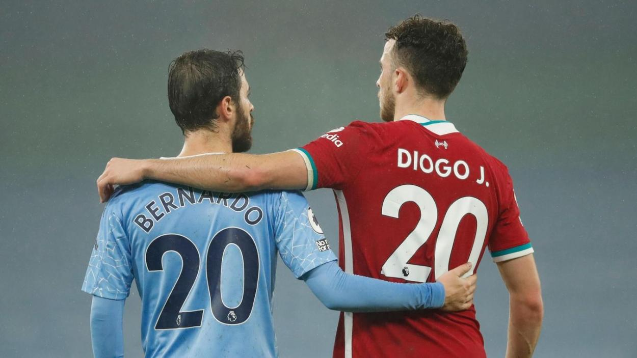 Bernadro y Diogo Jota tras el partido disputado en el Etihad. | Fuente: Premier League