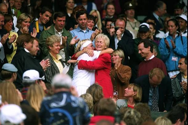 Novotna celebrates her sole Grand Slam singles title win with her mother (Getty/Mike Hewitt)