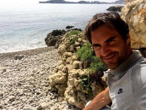 """Federer shared this photo, writing, """"Chillaxing at the beach earlier in the week."""" Credit: Roger Federer/Facebook"""