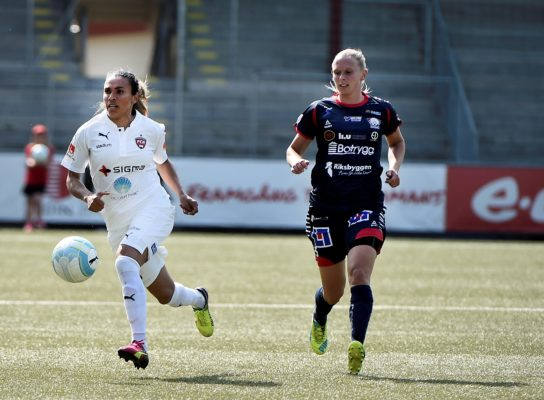 Marta (left) opened the scoring, but Rosengård couldn't claim the three points. (Photo: Emil Langvad/TT)