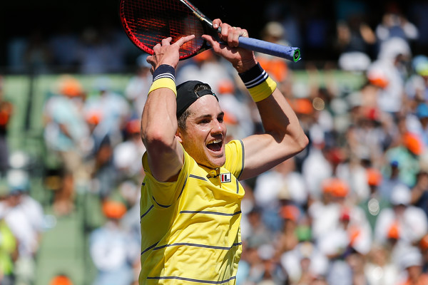 John Isner celebrates his victory in the Miami final. Photo: Michael Reaves/Getty Images