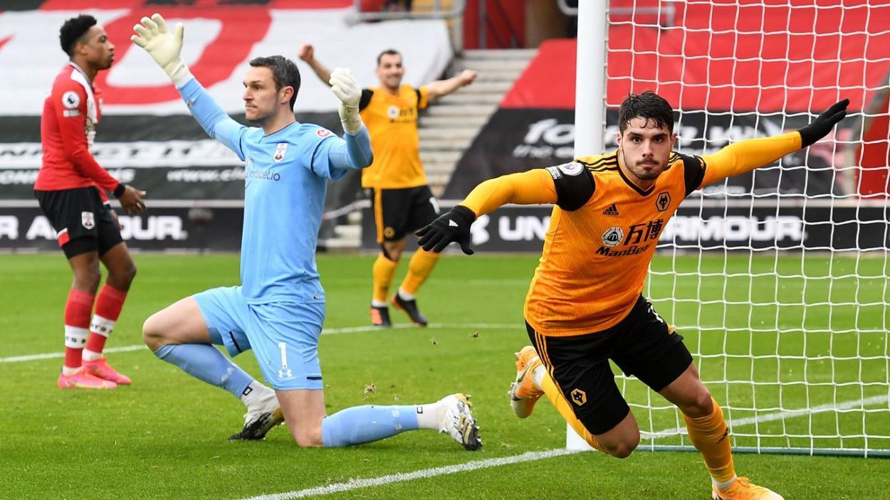 Celebración de Pedro Neto tras una fantástica jugada personal. | Fuente: Premier League