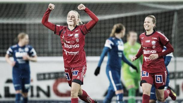 Pernille Harder celebrating for Linkopings.   Image credit: Johanna Lundberg/Bildbyrån
